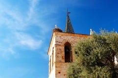 Φωλιά των πελαργών σε ένα καμπαναριό εκκλησιών Στοκ Εικόνα