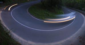 Φω'τα αυτοκινήτων που κινούνται στο δρόμο Στοκ Εικόνες