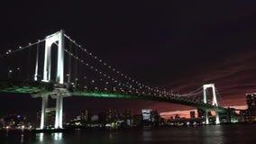 Φω'τα γεφυρών πόλεων νύχτας στην Ιαπωνία απόθεμα βίντεο