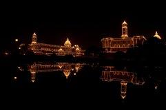 Φω'τα ημέρας Δημοκρατίας στους Προέδρους House, Delhi Στοκ Εικόνες