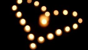 Φω'τα κεριών - καρδιά αγάπης απόθεμα βίντεο