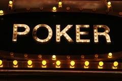 Φω'τα νέου πόκερ Στοκ φωτογραφία με δικαίωμα ελεύθερης χρήσης