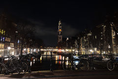 Φω'τα νύχτας του Άμστερνταμ netherlands Στοκ Εικόνα
