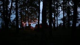 Φω'τα νύχτας όχθεων ποταμού υπολοίπου απόθεμα βίντεο