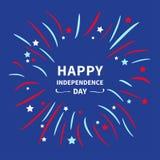 Φω'τα νύχτας sky Ευτυχής ημέρα της ανεξαρτησίας Ηνωμένες Πολιτείες της Αμερικής 4η Ιουλίου Επίπεδο σχέδιο αστεριών και λουρίδων π Στοκ Φωτογραφία