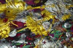 Φω'τα σπινθηρίσματος, ασημένιο χρυσό ρόδινο πράσινο χρώμα watercolor κτυπημάτων βουρτσών Αφηρημένο υπόβαθρο χρωμάτων Watercolor Στοκ Φωτογραφία