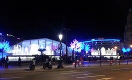 Φω'τα στα Χριστούγεννα στη Βαρκελώνη Στοκ Εικόνα