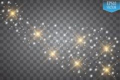 Φω'τα στο διαφανές υπόβαθρο Το διανυσματικό λευκό ακτινοβολεί αφηρημένη απεικόνιση κυμάτων Άσπρο σπινθήρισμα ιχνών σκόνης αστεριώ Στοκ Φωτογραφία