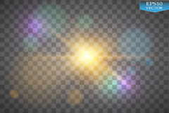 Φω'τα στο διαφανές υπόβαθρο Το διανυσματικό λευκό ακτινοβολεί αφηρημένη απεικόνιση κυμάτων Άσπρο σπινθήρισμα ιχνών σκόνης αστεριώ ελεύθερη απεικόνιση δικαιώματος