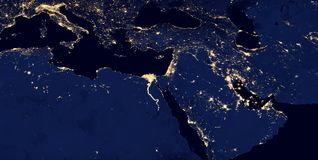 Φω'τα της Μέσης Ανατολής, δυτική Ασία, ανατολική Ευρώπη κατά τη διάρκεια της νύχτας όπως μοιάζει με από το διάστημα Τα στοιχεία α Στοκ Εικόνες