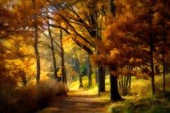 Φω'τα φθινοπώρου σε μια πορεία που καλύπτεται με τα κίτρινα φύλλα στοκ φωτογραφία