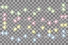 Φω'τα Χριστουγέννων Ζωηρόχρωμη γιρλάντα Χριστουγέννων Διανυσματικές κόκκινες, κίτρινες, μπλε και πράσινες λάμπες φωτός πυράκτωσης διανυσματική απεικόνιση