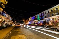 Φω'τα Χριστουγέννων διακοπών να ενσωματώσει Hampden, Βαλτιμόρη Mary στοκ φωτογραφία με δικαίωμα ελεύθερης χρήσης