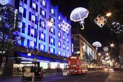 Φω'τα Χριστουγέννων οδών της Οξφόρδης Στοκ Εικόνες