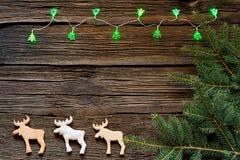 Φω'τα Χριστουγέννων σε ένα ξύλινο υπόβαθρο με ελεύθερου χώρου Μελόψωμο με μορφή των ζώων Στο υπόβαθρο των Χριστουγέννων κλαδίσκων Στοκ εικόνες με δικαίωμα ελεύθερης χρήσης