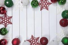 Φω'τα Χριστουγέννων σε ξύλινο Στοκ Εικόνες