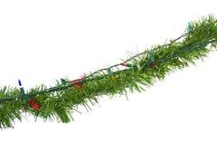 Φω'τα Χριστουγέννων στη γιρλάντα που απομονώνονται στο λευκό στοκ εικόνα