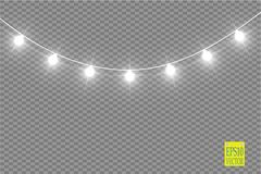 Φω'τα Χριστουγέννων στο διαφανές υπόβαθρο Καμμένος γιρλάντα Χριστουγέννων επίσης corel σύρετε το διάνυσμα απεικόνισης απεικόνιση αποθεμάτων