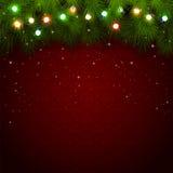 Φω'τα Χριστουγέννων στο κόκκινο υπόβαθρο Στοκ εικόνες με δικαίωμα ελεύθερης χρήσης