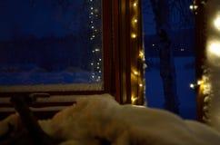 Φω'τα Χριστουγέννων στο μέρος Στοκ Φωτογραφίες