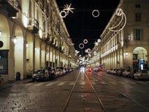 Φω'τα Χριστουγέννων στο Τορίνο τη νύχτα Στοκ Φωτογραφίες