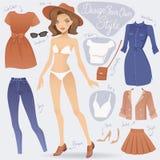 Φόρεμα κινούμενων σχεδίων επάνω στο χαρακτήρα κοριτσιών μόδας διανυσματική απεικόνιση