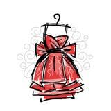 Φόρεμα στις κρεμάστρες, σκίτσο για το σχέδιό σας απεικόνιση αποθεμάτων