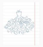 Φόρεμα του εγγράφου σημειωματάριων doodles Στοκ φωτογραφία με δικαίωμα ελεύθερης χρήσης