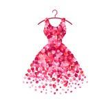 Φόρεμα των ρόδινων ροδαλών πετάλων διανυσματική απεικόνιση