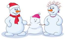 φόρμα παιδιών snowmens διανυσματική απεικόνιση