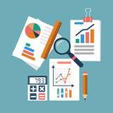φόροι οικονομικής δήλωσης έννοιας υπολογισμών λογιστικής διαδικασία οργάνωσης, analytics Στοκ Εικόνες