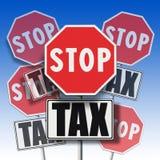 Φόρος στάσεων που γράφεται σε πολλές πινακίδες Στοκ Φωτογραφία