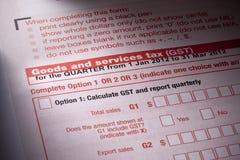 φόρος υπηρεσιών αγαθών μορφής gst στοκ φωτογραφίες