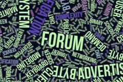 Φόρουμ, εννοιολογικό σύννεφο λέξης για την επιχείρηση, τεχνολογία πληροφοριών ή ΤΠ ελεύθερη απεικόνιση δικαιώματος