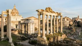φόρουμ Ρωμαίος Απέραντη ανασκαμμένη περιοχή των ρωμαϊκών ναών Timelapse απόθεμα βίντεο