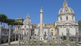 Φόρουμ Trajan, Colona Trajan, Ρώμη, Ιταλία απόθεμα βίντεο