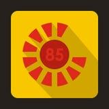 Φόρτωση κύκλων, εικονίδιο 85 τοις εκατό, επίπεδο ύφος Στοκ Φωτογραφίες