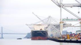 Φόρτωση Msc ARBATAX φορτηγών πλοίων στο λιμένα του Όουκλαντ Στοκ φωτογραφίες με δικαίωμα ελεύθερης χρήσης