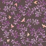 Φύλλα και χαριτωμένα πουλιά Δασικό άνευ ραφής σχέδιο Watercolour στο αφελές σχέδιο Στοκ Εικόνες