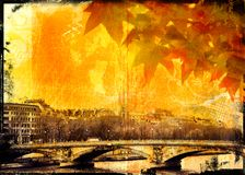 φύλλα Παρίσι γεφυρών grunge Στοκ εικόνα με δικαίωμα ελεύθερης χρήσης