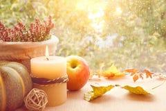 Φύλλα της Apple, κολοκύθας, ερείκης και φθινοπώρου σε έναν πίνακα παραθύρων Στοκ Εικόνα