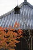 Φύλλα φθινοπώρου και κρεμώντας φανάρι του ναού Kaizo Στοκ Εικόνες