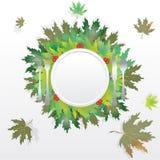 Φύλλα φθινοπώρου με το πιάτο και τα μαχαιροπήρουνα ελεύθερη απεικόνιση δικαιώματος