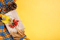 Φύλλα φθινοπώρου, μούρα, ισχία και κώνοι πεύκων σε ένα κίτρινο υπόβαθρο Ένα υπόβαθρο φθινοπώρου Στοκ Φωτογραφίες