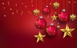 Φύλλα PrintChristmas με ένα ρεαλιστικό δάπεδο χριστουγεννιάτικων δέντρων σε ένα κόκκινο υπόβαθρο Το αστέρι, σφαίρα, τελειοποιεί γ ελεύθερη απεικόνιση δικαιώματος