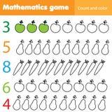 Φύλλο εργασίας μαθηματικών για τα παιδιά Εκπαιδευτική δραστηριότητα παιδιών αρίθμησης και χρώματος με τα φρούτα και λαχανικά ελεύθερη απεικόνιση δικαιώματος