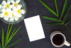 Φύλλο μπαμπού και λουλούδι frangipani στο αγροτικό ξύλινο υπόβαθρο Κενή κάρτα και floral τοπ άποψη ντεκόρ Στοκ φωτογραφίες με δικαίωμα ελεύθερης χρήσης