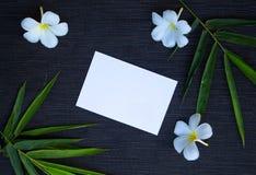 Φύλλο μπαμπού και λουλούδι frangipani στο αγροτικό ξύλινο υπόβαθρο Στοκ Εικόνα