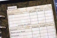 φύλλο προϋπολογισμών Στοκ εικόνα με δικαίωμα ελεύθερης χρήσης