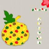 Φύλλο φθινοπώρου με την κολοκύθα και φύλλα σε ένα πλεκτό υπόβαθρο για το σχέδιό σας διάνυσμα Στοκ Εικόνες